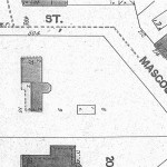 1889 Sanborn-Perris fire insurance map showing the Gustave Koerner House and associated house lot. Note pentagonal bay.